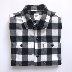 Boys Gap Black White Check Flannel Shirt M (8)
